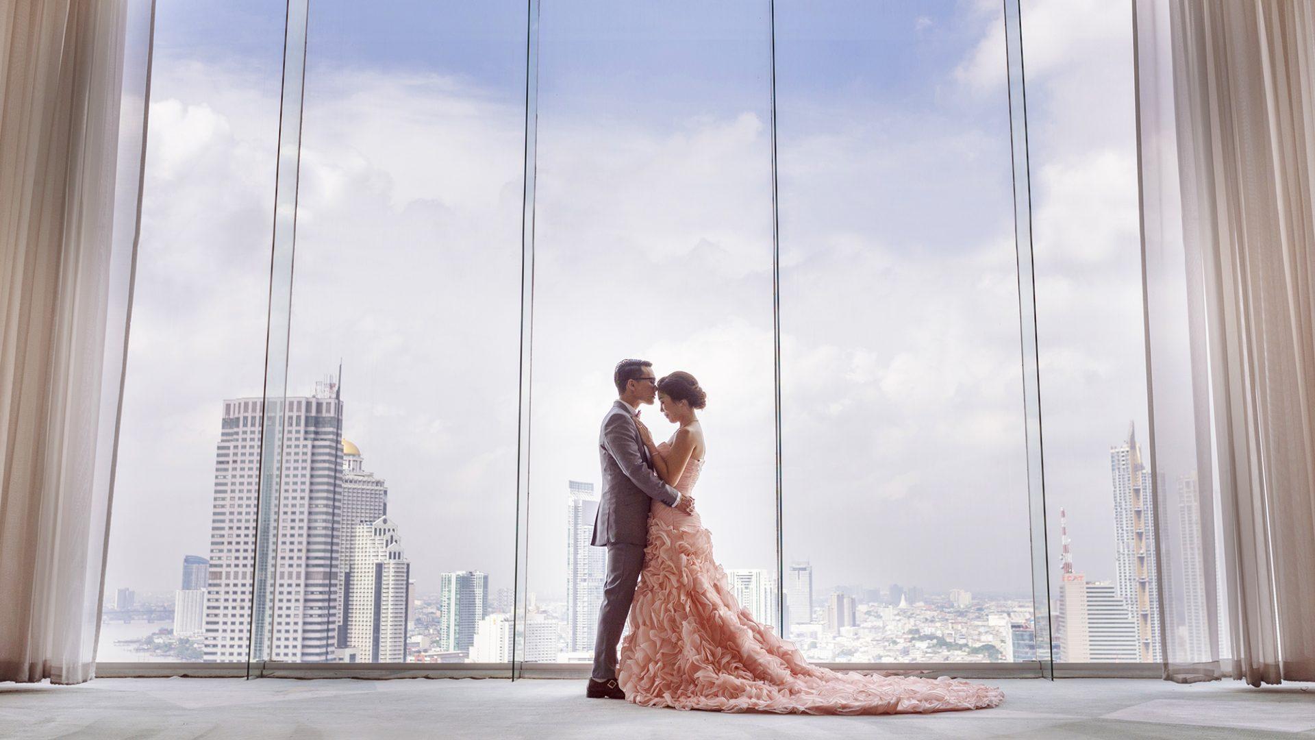 Wedding Couple on Top of Bangkok