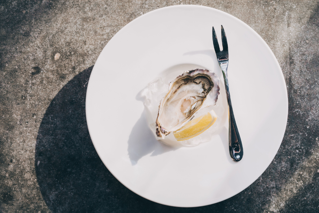 Single oyster on plate